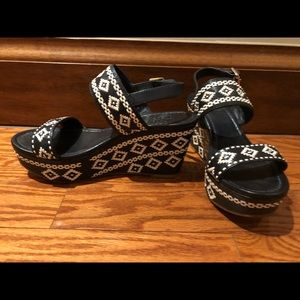 Tory Burch All Leather Wedge Sandals